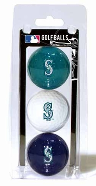Seattle Mariners Set of 3 Multicolor Golf Balls