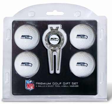 Seattle Seahawks 4 Ball and Divot Tool Set