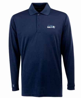 Seattle Seahawks Mens Long Sleeve Polo Shirt (Color: Navy)