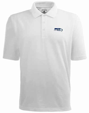 Seattle Seahawks Mens Pique Xtra Lite Polo Shirt (Color: White)