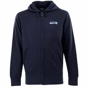 Seattle Seahawks Mens Signature Full Zip Hooded Sweatshirt (Color: Navy) - X-Large