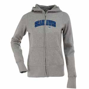 Seattle Seahawks Applique Womens Zip Front Hoody Sweatshirt (Color: Gray) - X-Large