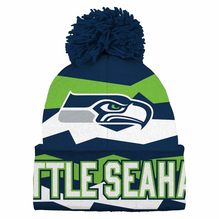 697b6bebdf2be3 Seattle Seahawks Youth Flex Jacquard Cuffed Knit Hat w/ Pom