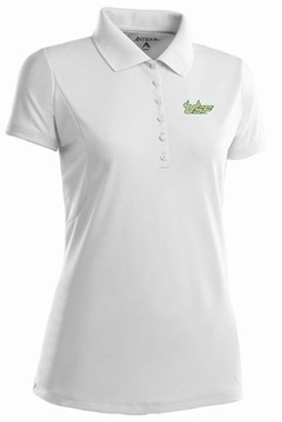 South Florida Womens Pique Xtra Lite Polo Shirt (Color: White)