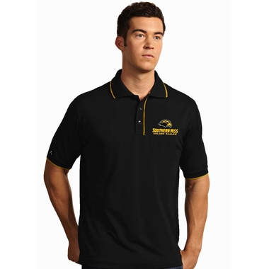 Southern Miss Mens Elite Polo Shirt (Color: Black)