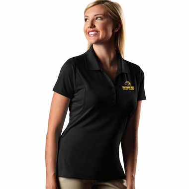 Southern Miss Womens Pique Xtra Lite Polo Shirt (Color: Black)