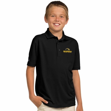 Southern Miss YOUTH Unisex Pique Polo Shirt (Color: Black)