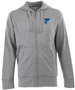 St Louis Blues Mens Signature Full Zip Hooded Sweatshirt (Color: Gray) - X-Large