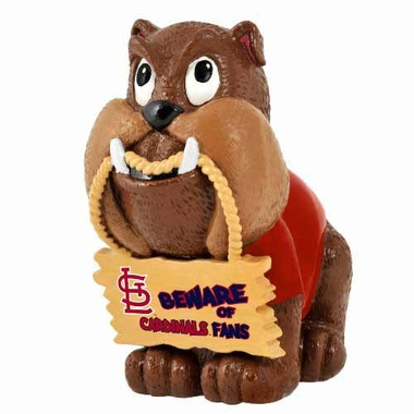 St. Louis Cardinals Bulldog Holding Sign Figurine