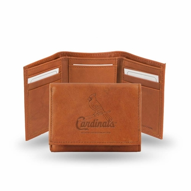 St Louis Cardinals Embossed Leather Trifold Wallet