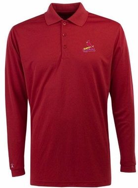 St Louis Cardinals Mens Long Sleeve Polo Shirt (Color: Red)