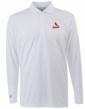 St Louis Cardinals Mens Long Sleeve Polo Shirt (Color: White)