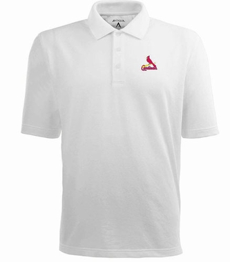 St Louis Cardinals Mens Pique Xtra Lite Polo Shirt (Color: White)