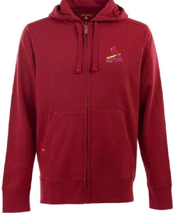 St Louis Cardinals Mens Signature Full Zip Hooded Sweatshirt (Color: Red) - Large
