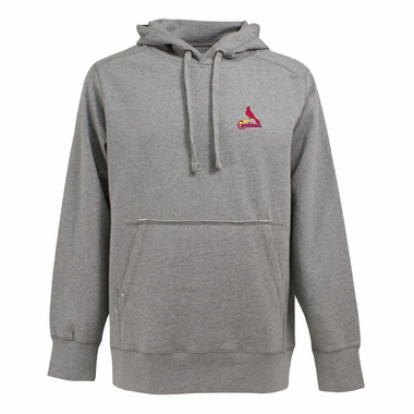 St Louis Cardinals Mens Signature Hooded Sweatshirt (Color: Silver)