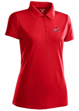 St Louis Cardinals Womens Pique Xtra Lite Polo Shirt (Color: Red) - Medium
