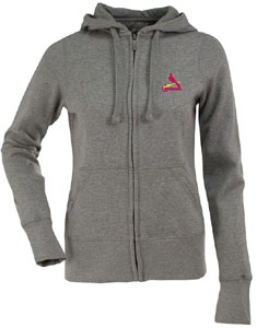 St Louis Cardinals Womens Zip Front Hoody Sweatshirt (Color: Gray) - Small