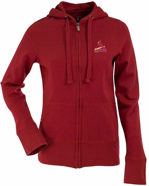 St Louis Cardinals Womens Zip Front Hoody Sweatshirt (Color: Red)