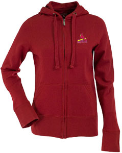 St Louis Cardinals Womens Zip Front Hoody Sweatshirt (Color: Red) - Small