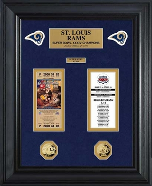 St. Louis Rams St Louis Rams Super Bowl Ticket and Game Coin Collection Framed