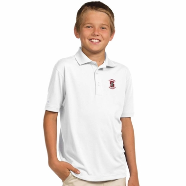 Stanford YOUTH Unisex Pique Polo Shirt (Color: White)