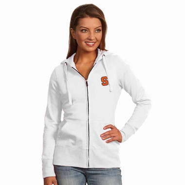 Syracuse Womens Zip Front Hoody Sweatshirt (Color: White)