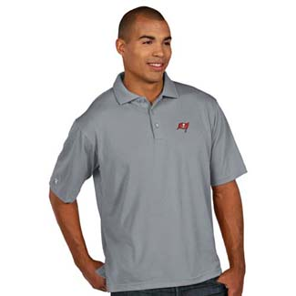 Tampa Bay Buccaneers Mens Pique Xtra Lite Polo Shirt (Color: Silver) - Large
