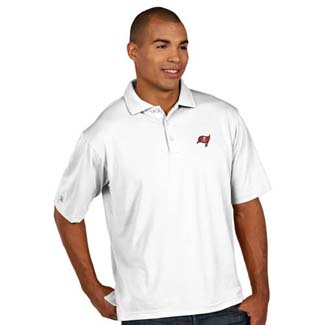 Tampa Bay Buccaneers Mens Pique Xtra Lite Polo Shirt (Color: White) - Medium
