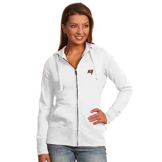 Tampa Bay Buccaneers Womens Zip Front Hoody Sweatshirt (Color: White) - Medium