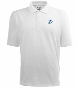 Tampa Bay Lightning Mens Pique Xtra Lite Polo Shirt (Color: White) - XXX-Large