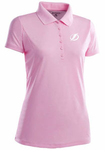 Tampa Bay Lightning Womens Pique Xtra Lite Polo Shirt (Color: Pink) - Large
