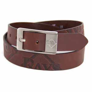 Tampa Bay Rays Brown Leather Brandished Belt - Size 44 (For 42 Inch Waist)