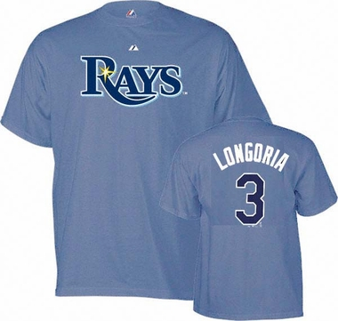Tampa Bay Rays Evan Longoria YOUTH Name and Number T-Shirt