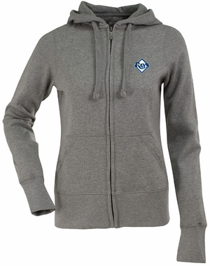 Tampa Bay Rays Womens Zip Front Hoody Sweatshirt (Color: Gray)
