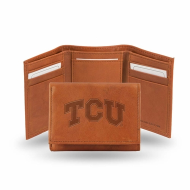 TCU Embossed Leather Trifold Wallet