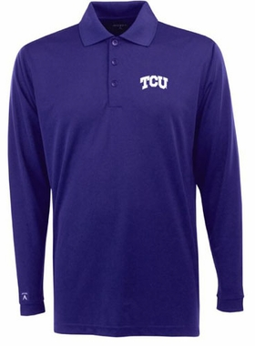 TCU Mens Long Sleeve Polo Shirt (Color: Purple)