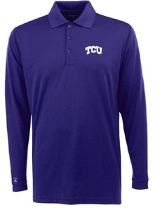 TCU Mens Long Sleeve Polo Shirt (Color: Purple) - X-Large