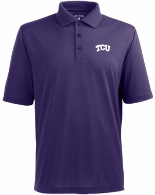 TCU Mens Pique Xtra Lite Polo Shirt (Color: Purple)