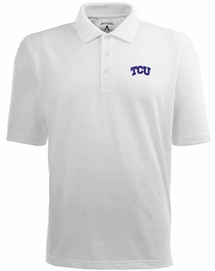 TCU Mens Pique Xtra Lite Polo Shirt (Color: White)