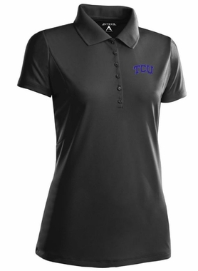 TCU Womens Pique Xtra Lite Polo Shirt (Color: Black)