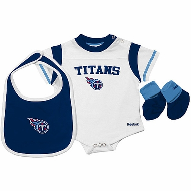 Tennessee Titans Infant 3 Piece Creeper Bib Bootie Set