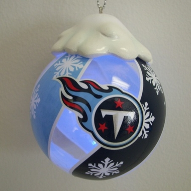 Tennessee Titans Light Up Glass Ball Ornament