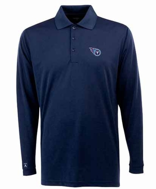 Tennessee Titans Mens Long Sleeve Polo Shirt (Color: Navy) - Large