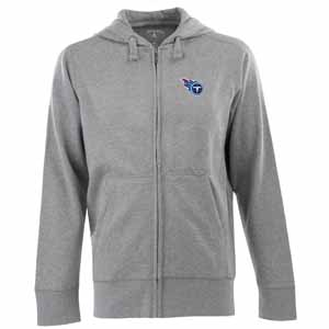 Tennessee Titans Mens Signature Full Zip Hooded Sweatshirt (Color: Silver) - Medium