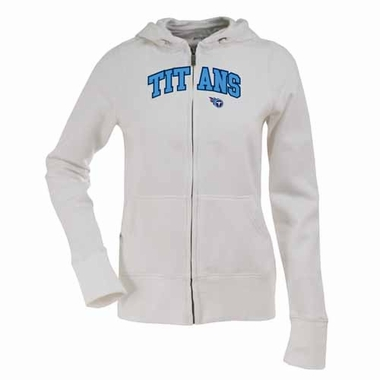 Tennessee Titans Womens Applique Zip Front Hoody Sweatshirt (Color: White)