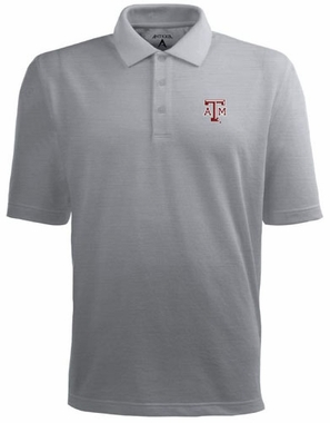 Texas A&M Mens Pique Xtra Lite Polo Shirt (Color: Silver)