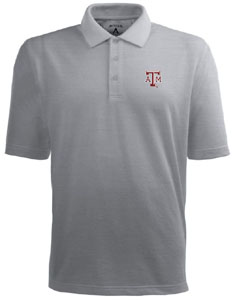 Texas A&M Mens Pique Xtra Lite Polo Shirt (Color: Gray) - Small