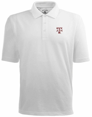 Texas A&M Mens Pique Xtra Lite Polo Shirt (Color: White)