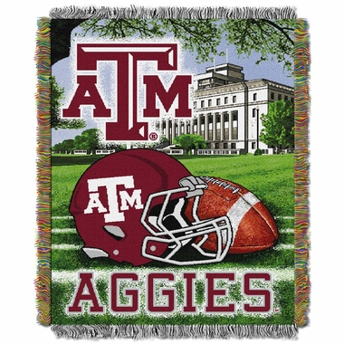 Texas A&M Woven Tapestry Blanket