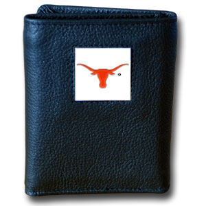 Texas Black Leather Trifold Wallet (F)